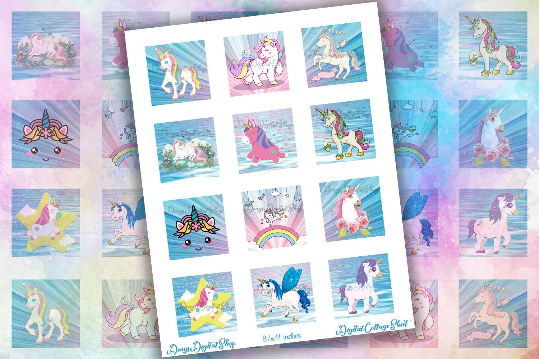Unicorns,Unicorn Digital Collage Sheet,Square images,Unicorn example image 2