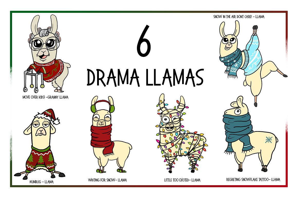 Holiday Clipart-llama Clipart-xmas Clipart-Cartoon-Sticker Clipart-Digital-Llama-alpaca Art-Funny-Digital Llama-Llama Drama-Commercial example image 2