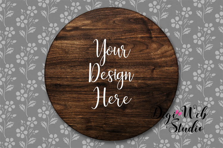 Wood Sign Mockup - Round Wood Sign on Flower Wallpaper example image 1
