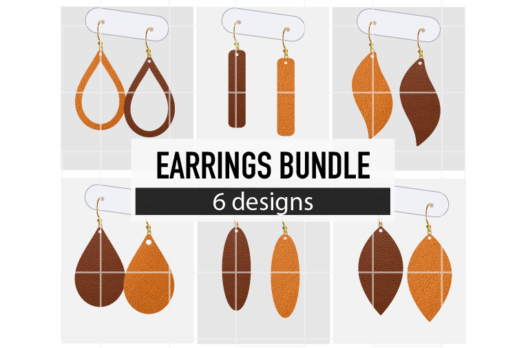 Basic Shapes Earrings Bundle Svg / Leather / Faux / Wood example image 1