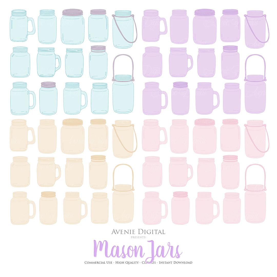 Lilac Mason Jar Floral Light Purple Wedding Clipart example image 4