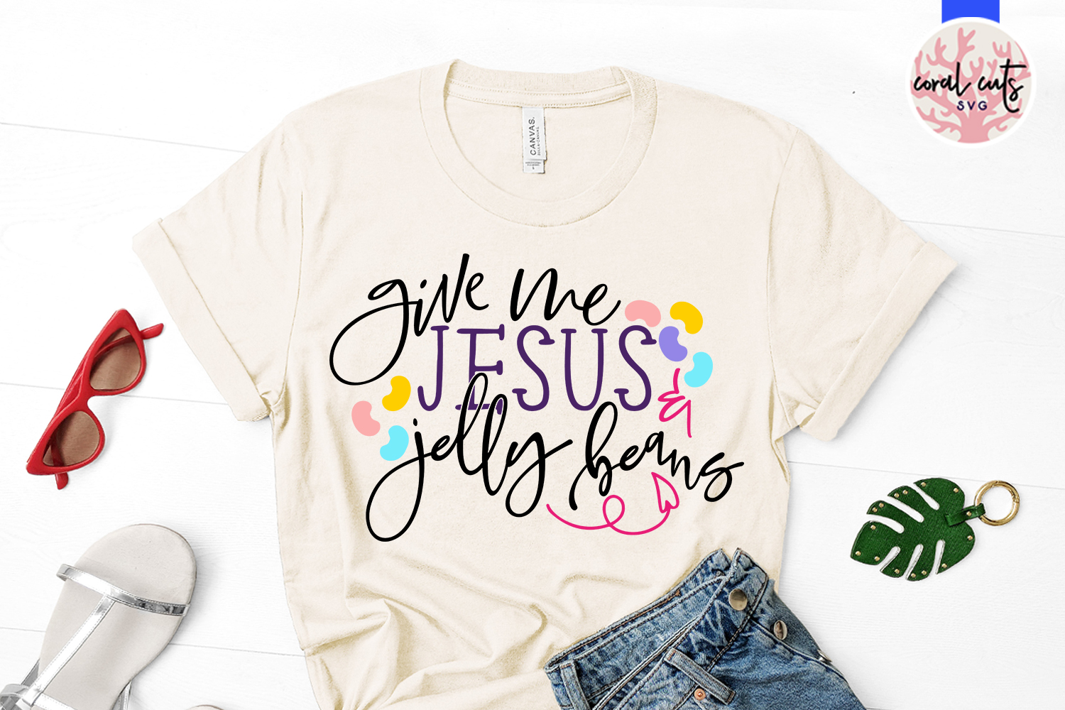 Give me jesus and jelly beans - Easter SVG EPS DXF PNG File example image 2