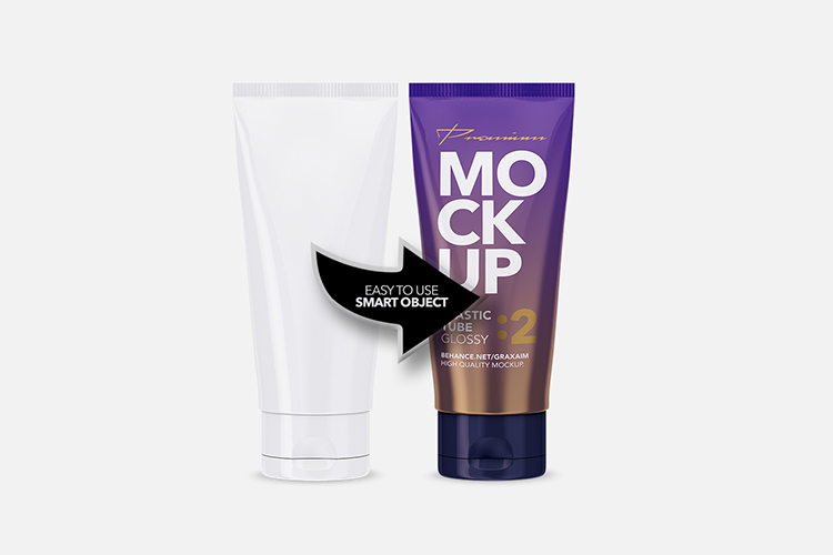 Glossy Plastic Cosmetic Tube Mockup - Front View - 02 example image 3
