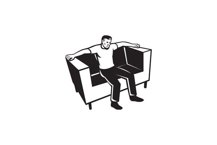 Man Sitting On Couch Chair example image 1