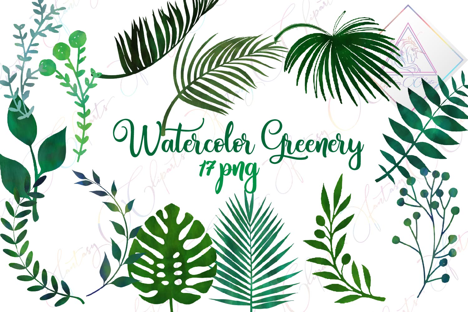 Watercolor Greenery Clipart example image 1