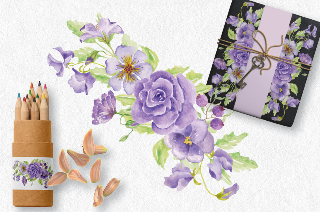 Watercolor sprays of purple and lilac flowers example image 5