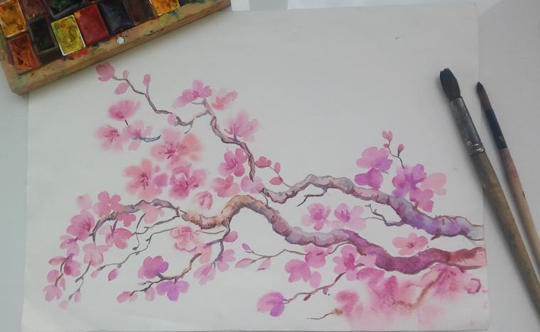 Sakura flowers, clipart,watercolor example image 3