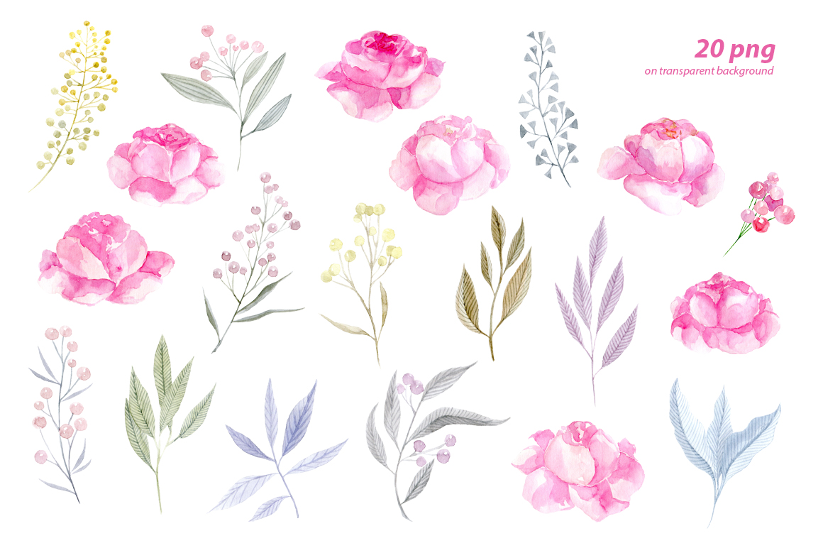 Watercolor pink roses png clipart example image 2