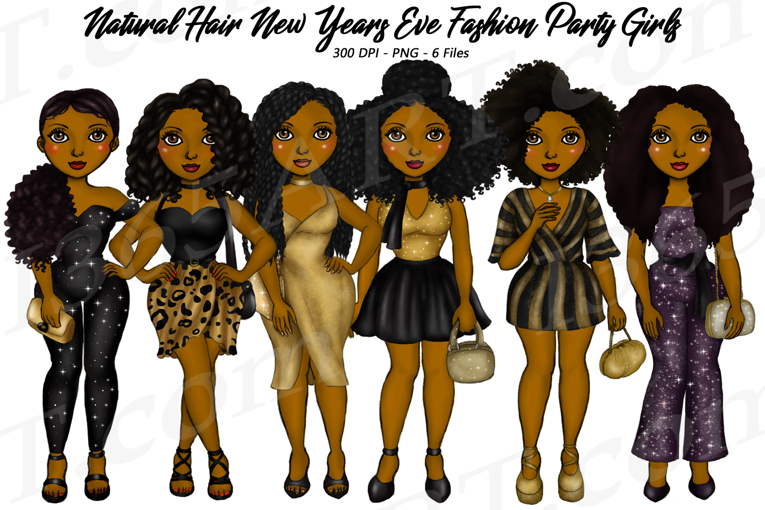 New Years Eve Party Black Girls Natural Hair Fashion Clipart example image 1
