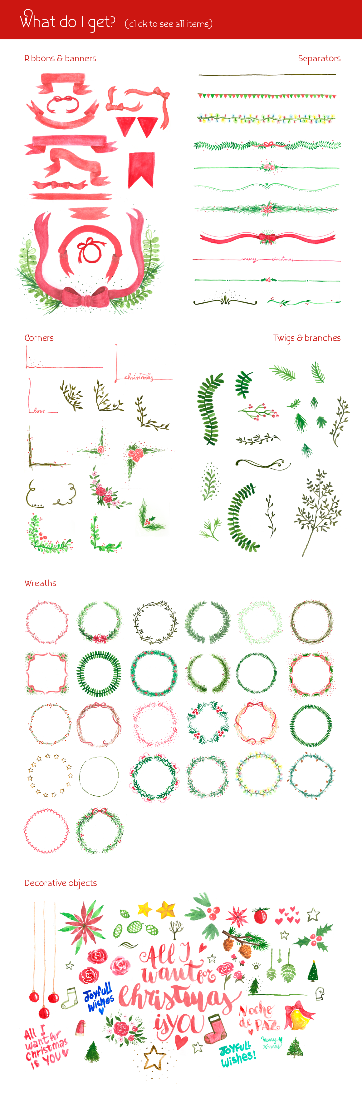 All I Want 4 Christmas Graphics Pack example image 2