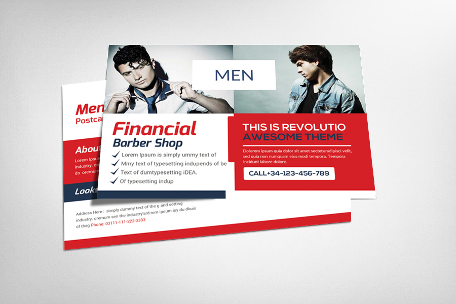 Barber Shop Postcard Template example image 1