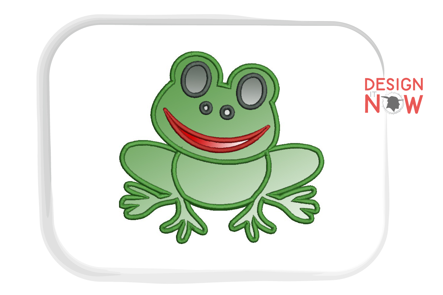 Frog Applique Embroidery Design, Embroidery Pattern example image 4