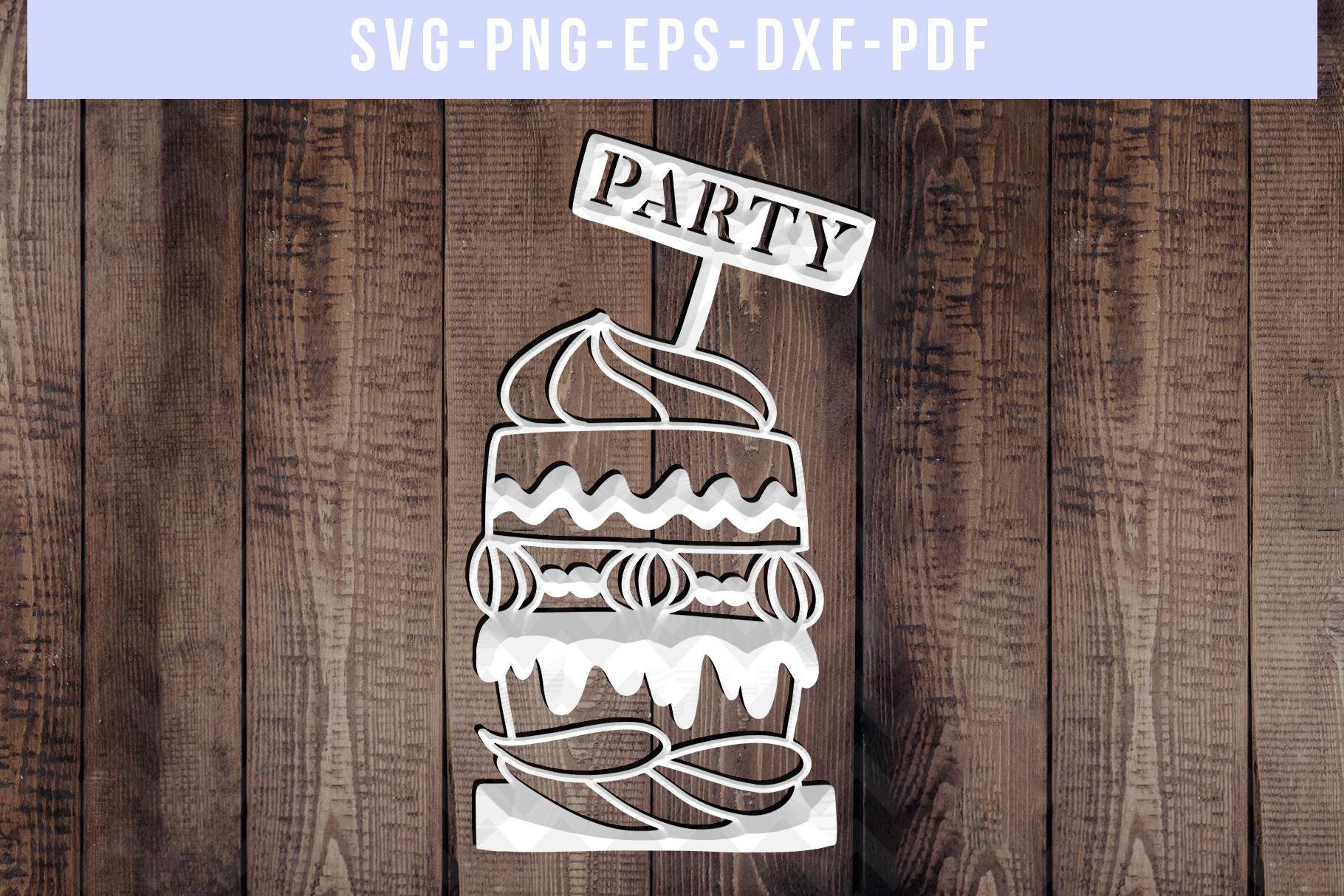 Cake Papercut Template, Birthday Party Invitation SVG, PDF example image 3