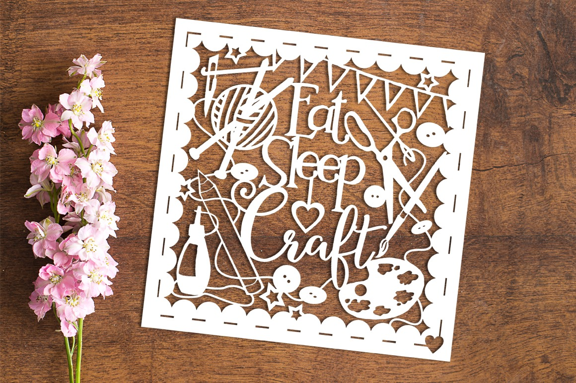 Eat Sleep Craft - Paper Cutting Template example image 1