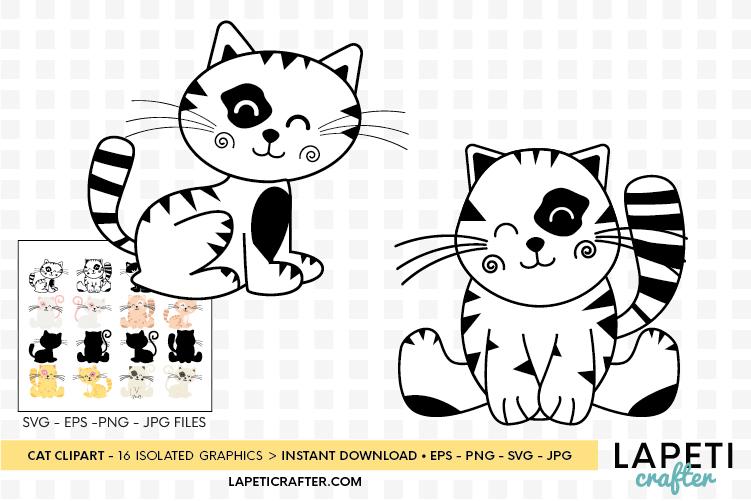 Cat clipart, kitten cats clipart, kitty clip art digital example image 3