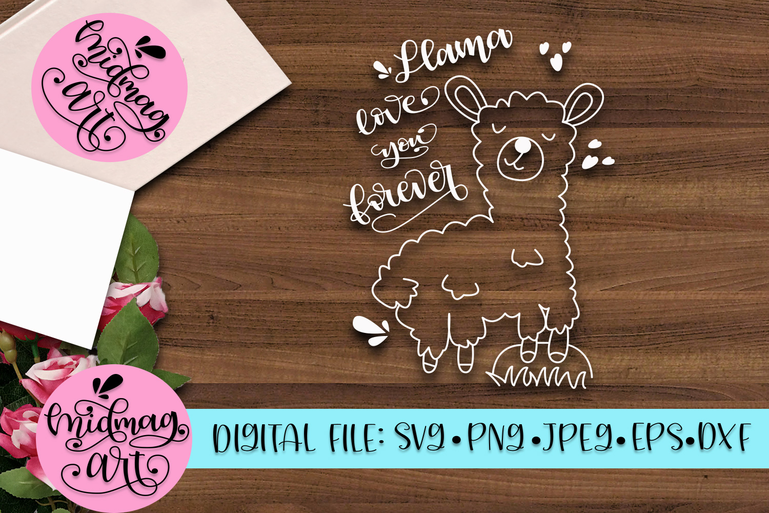 Llama love you forever svg, png, jpeg, eps and dxf example image 2