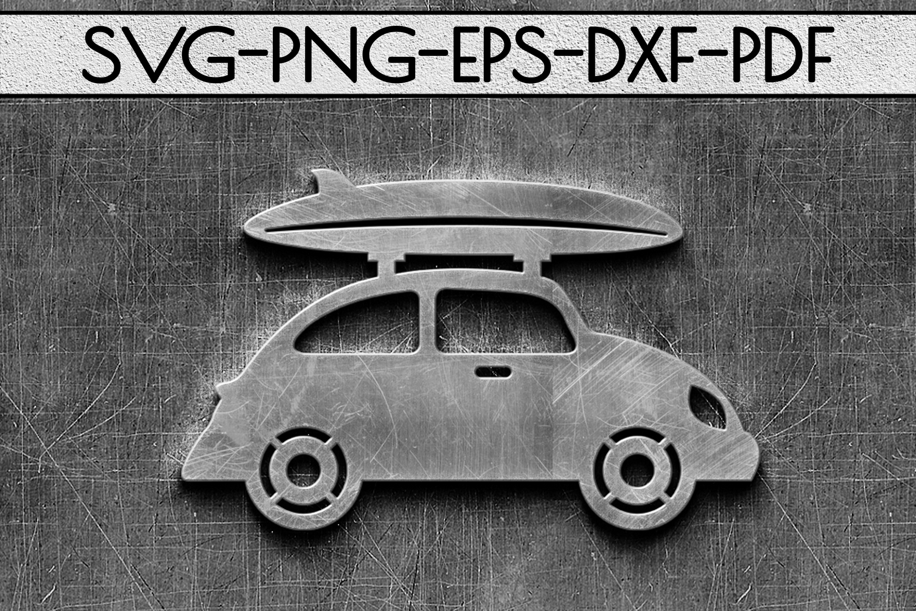 Summer Surf Papercut Template, Car With Surf Board SVG, DXF example image 2