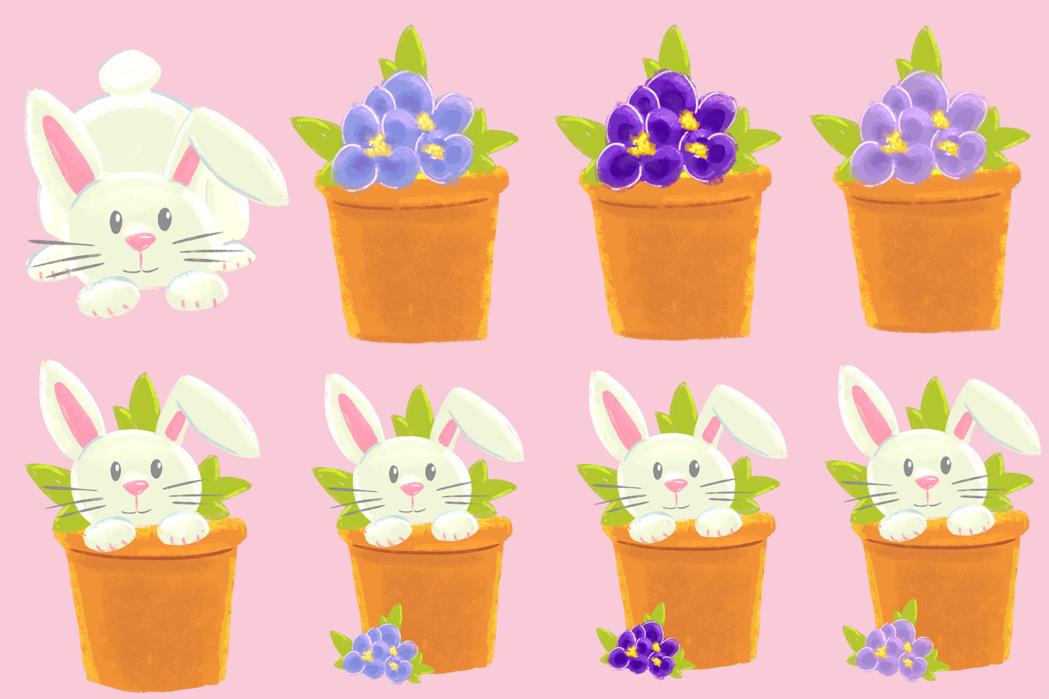 Spring Flower Bunnies Illustration Collection example image 3