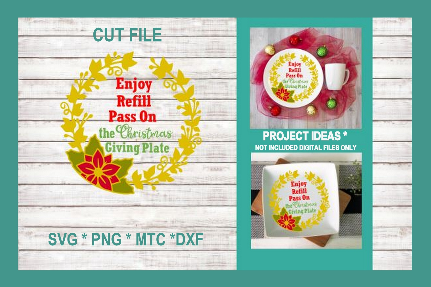 SVG Cut File Christmas Giving Plate BUNDLE Set 01 example image 2