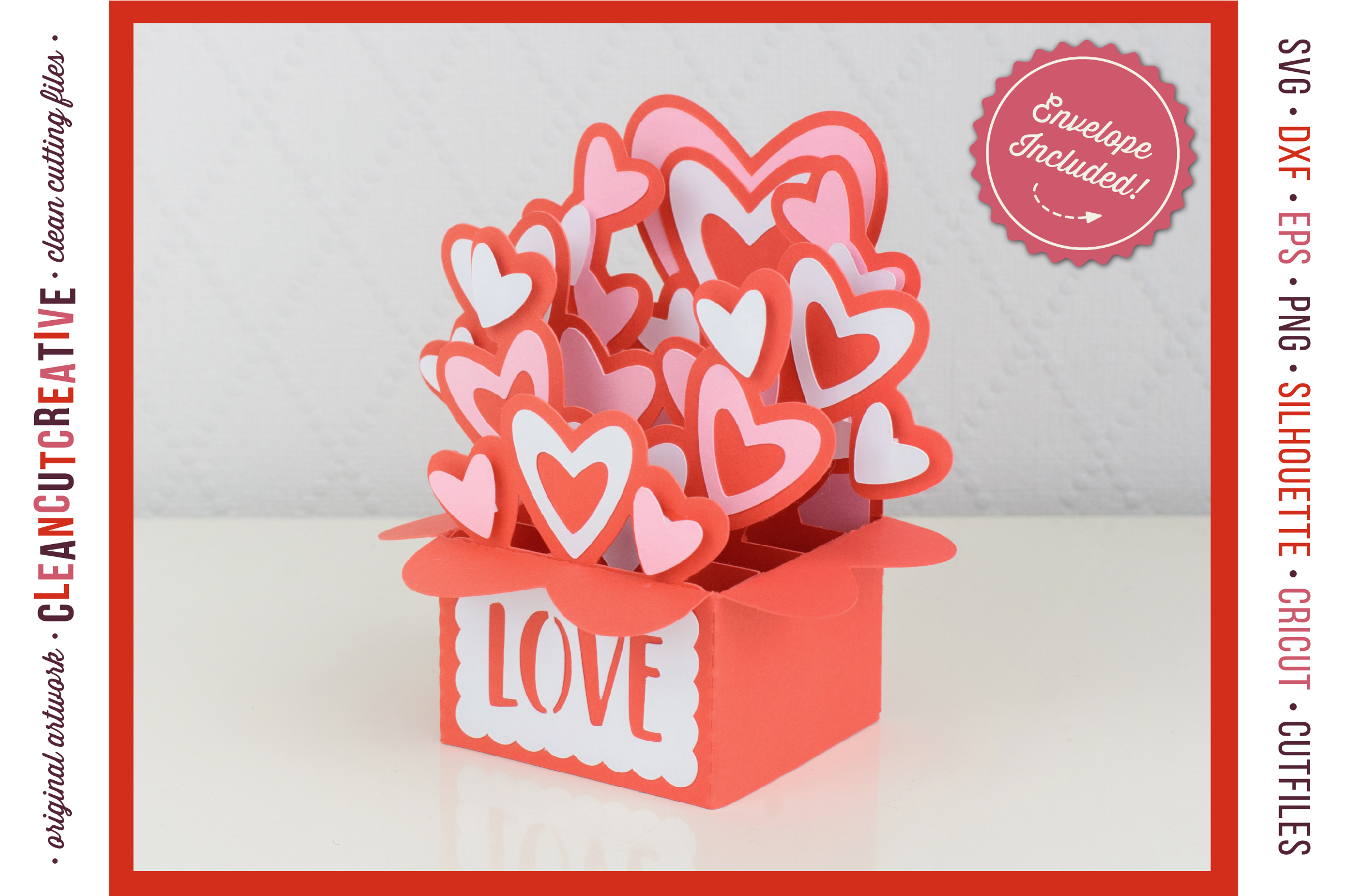 Love Box Card Valentine Card in a Box with cute hearts - SVG DXF EPS PNG - for Cricut & Silhouette - clean cutting files example image 3
