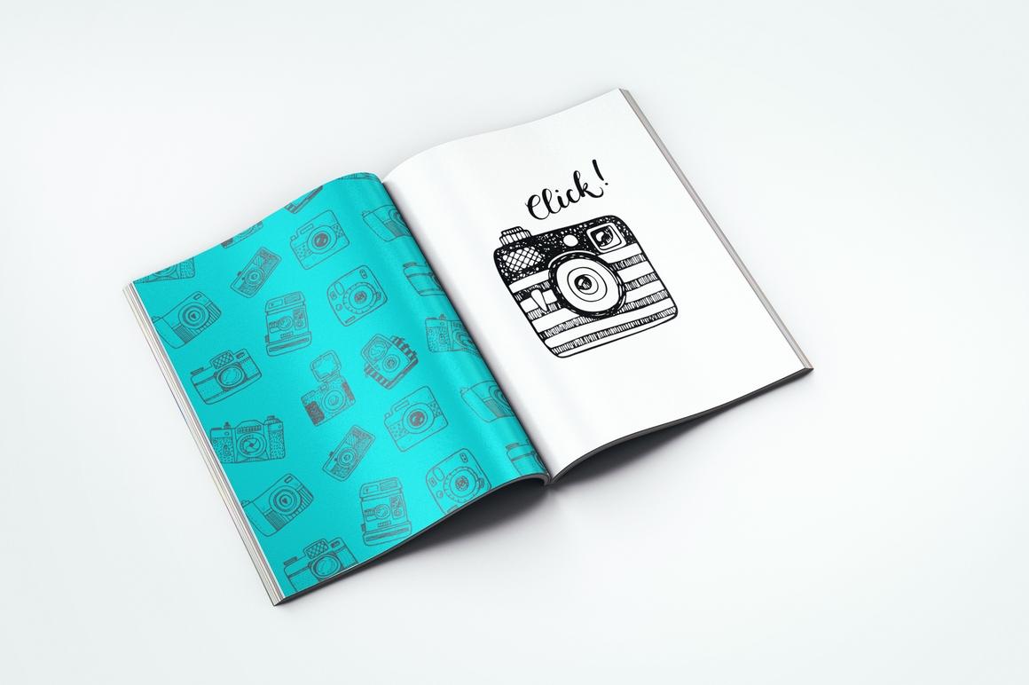 Hand drawn camera set +patterns example image 6