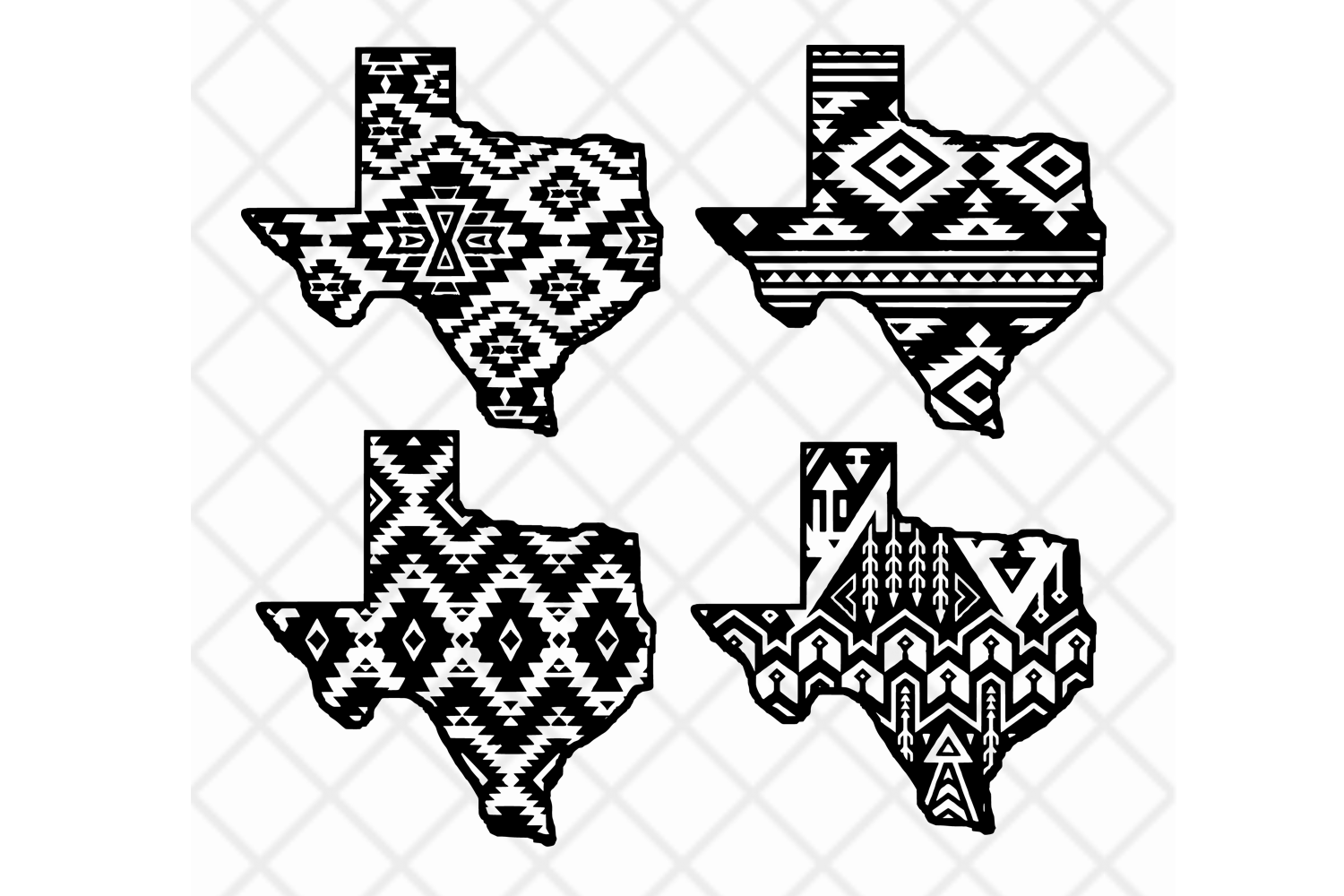 Texas state svg clipart vector Aztec pattern,State design example image 1