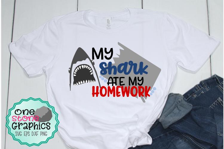 My shark ate my homework svg,shark svg,shark humor svg example image 1