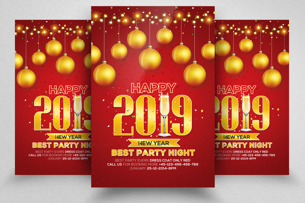 4 New Year Party Flyers Bundle example image 3