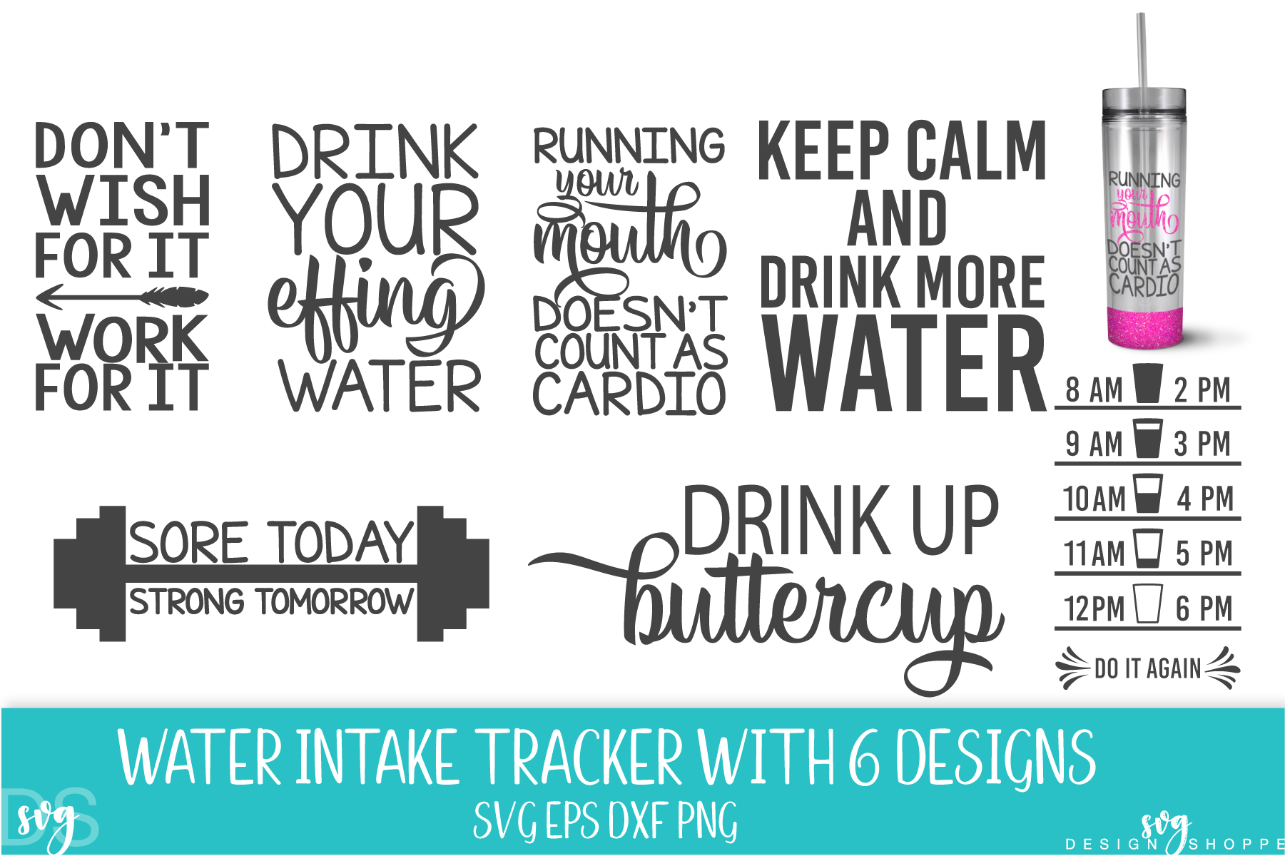 Water Tracker, SVG, SVG File, PNG, DXF, EPS example image 1