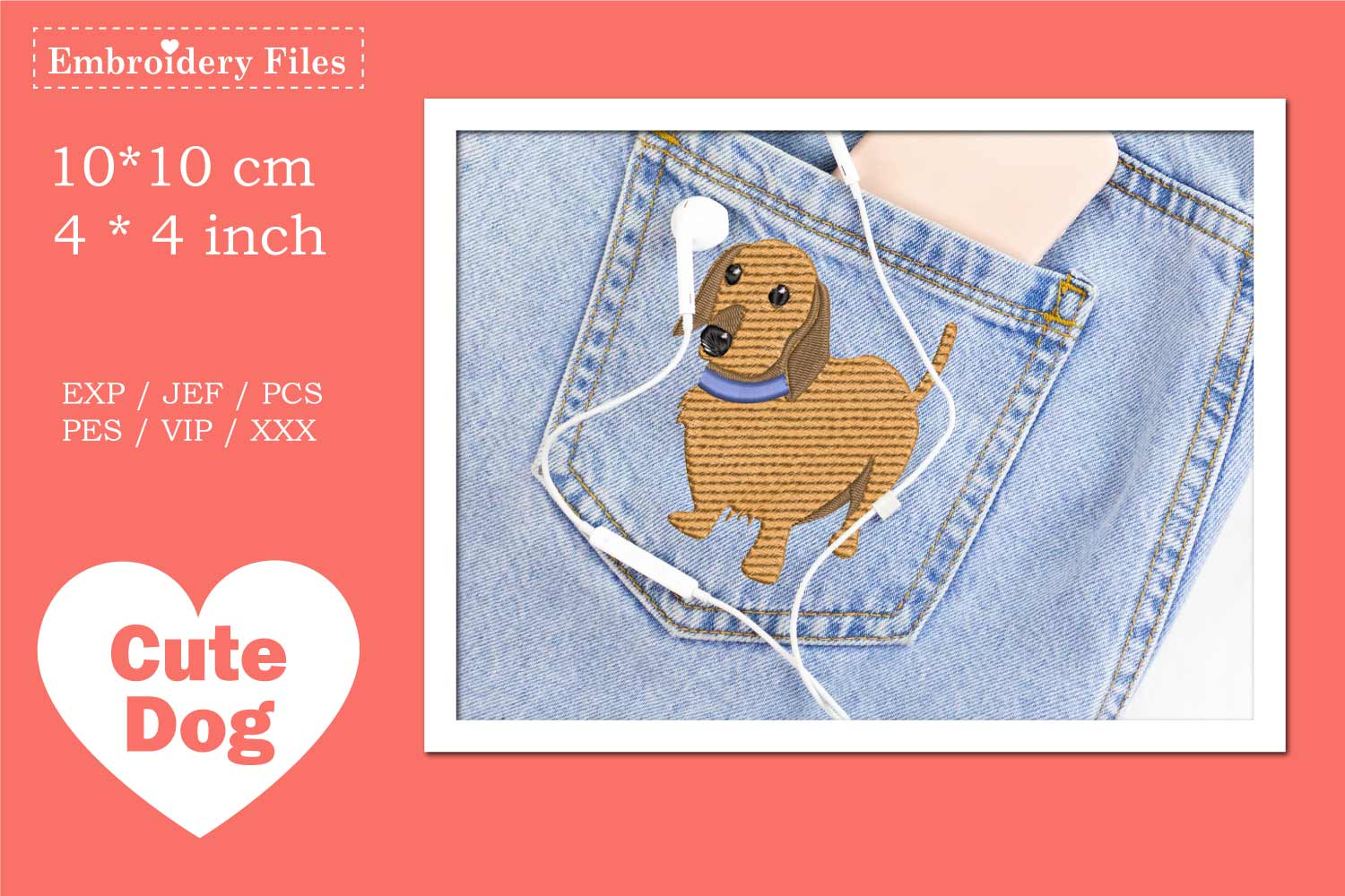 Cute Dachshund - Embroidery File example image 2