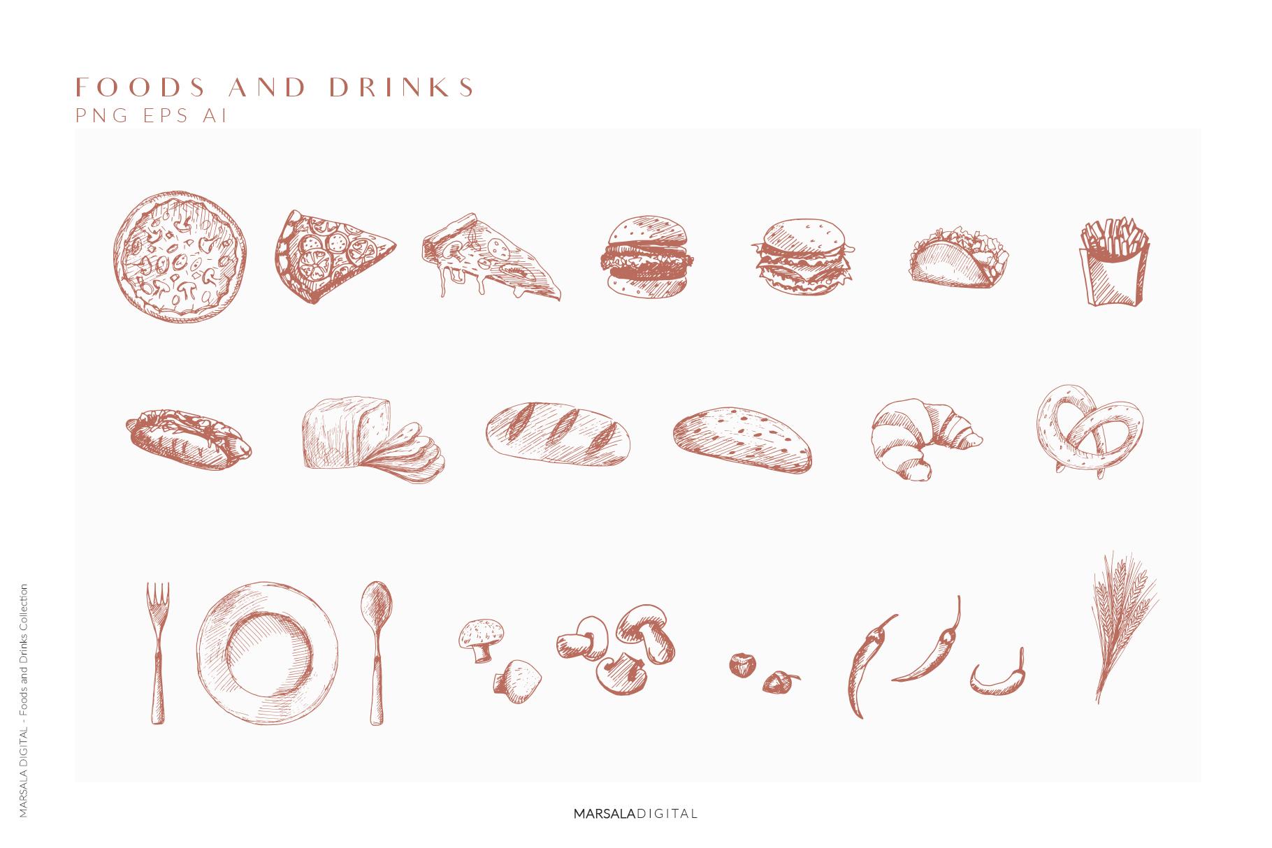 Foods & Drinks Logo Elements Handrawn Graphics example image 4