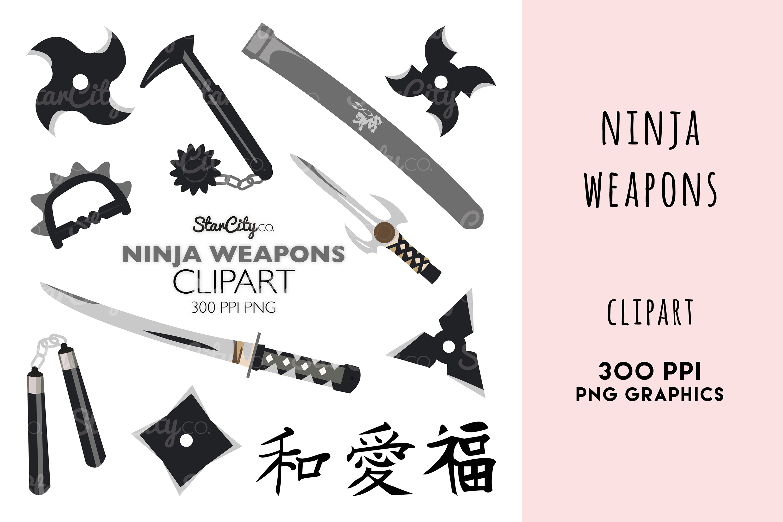 Ninja Weapons, Sword clipart, Throwing Star Graphics example image 1