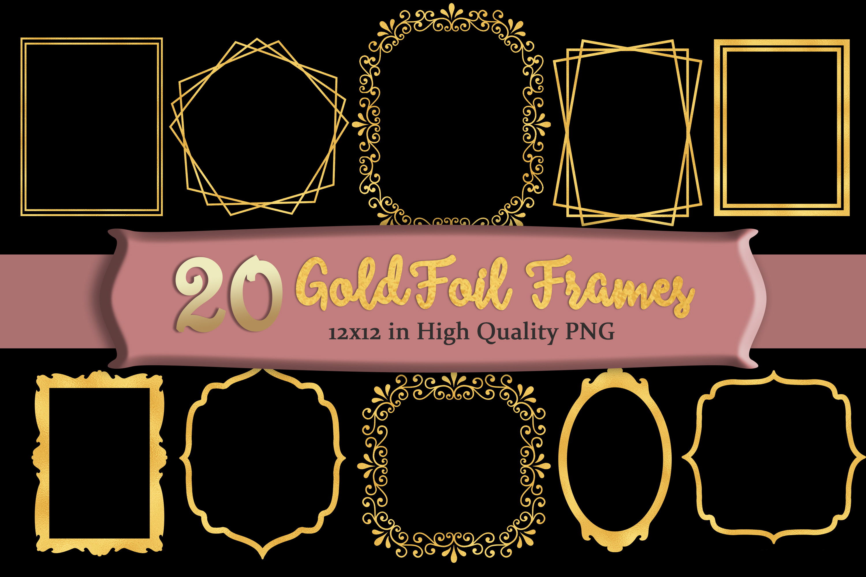 Gold Frames Clipart Set of 20 example image 1