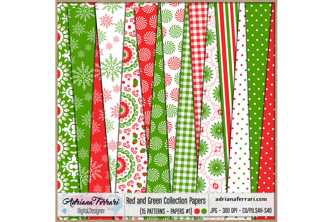 Red and Green Collection Papers 1 example image 1
