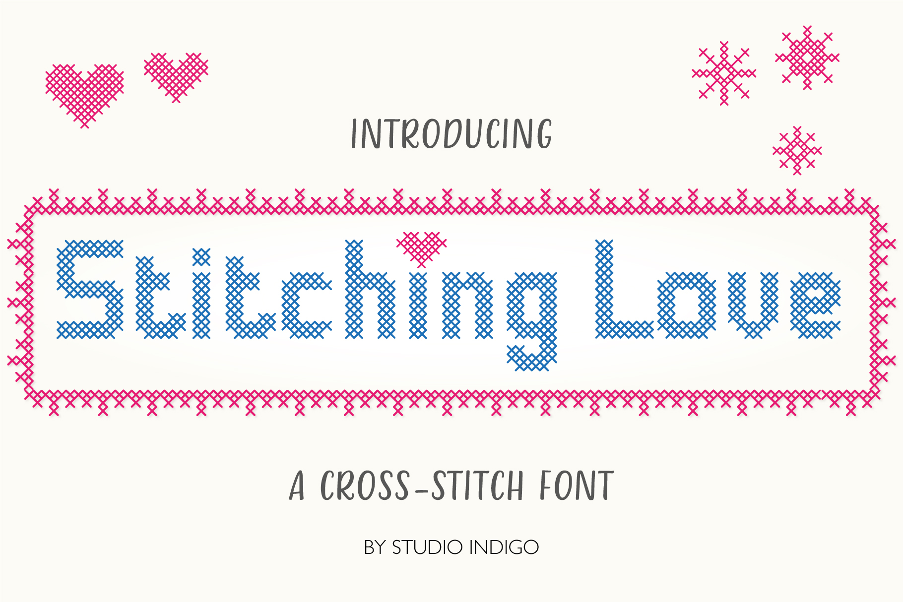 Stitching Love a cross-stitch font example image 1