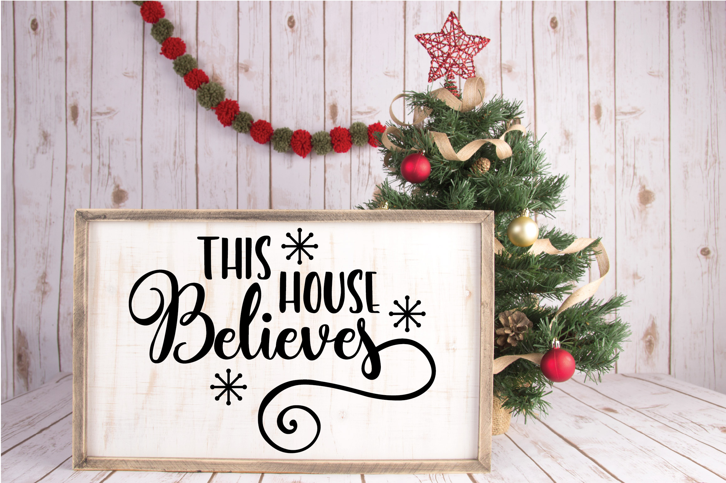 Christmas SVG Cut File - This House Believes SVG DXF PNG EPS example image 4