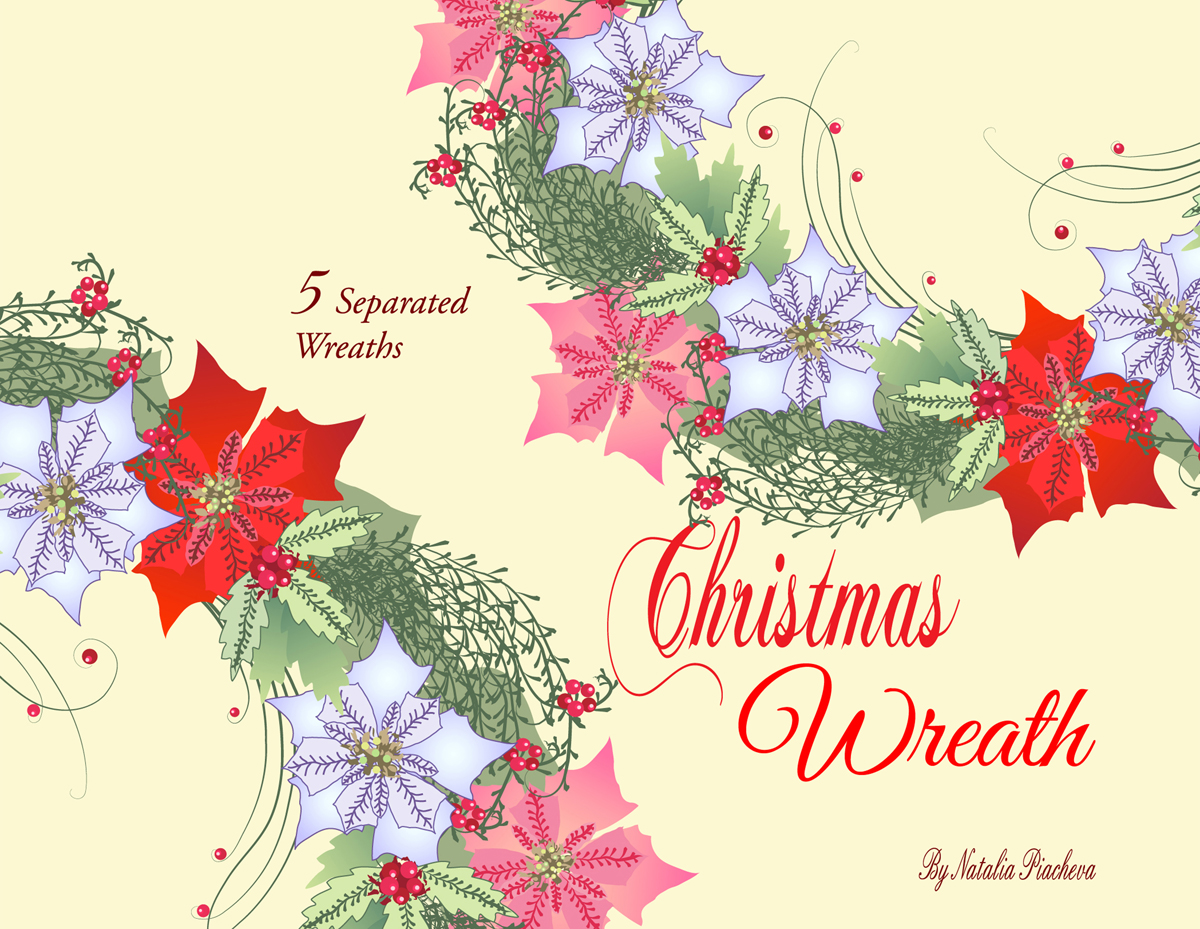 Christmas Wreath with Poinsettia example image 1