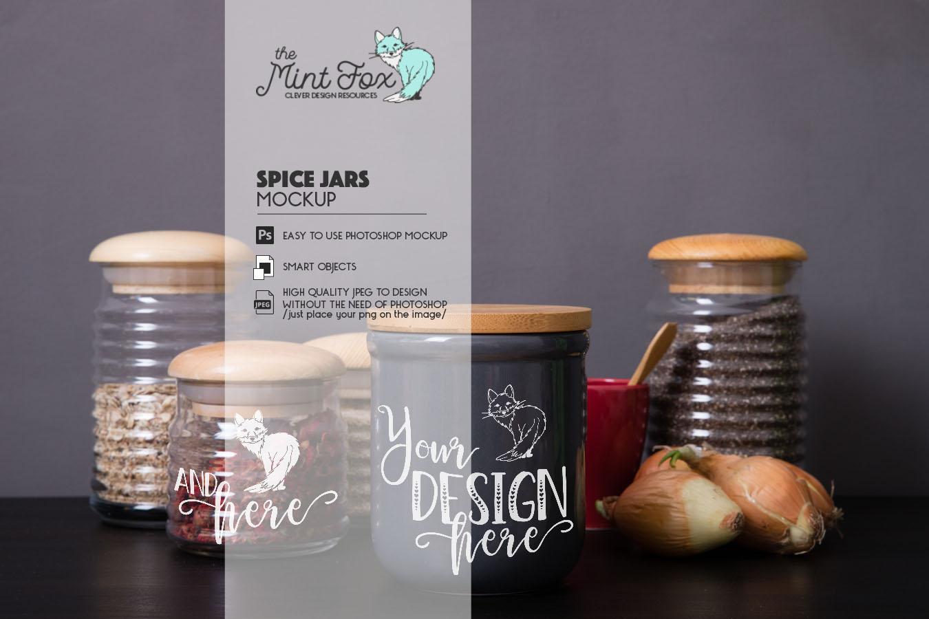 Spice Jars Mockup | PSD & JPG Kitchen Jar Mock Up example image 3