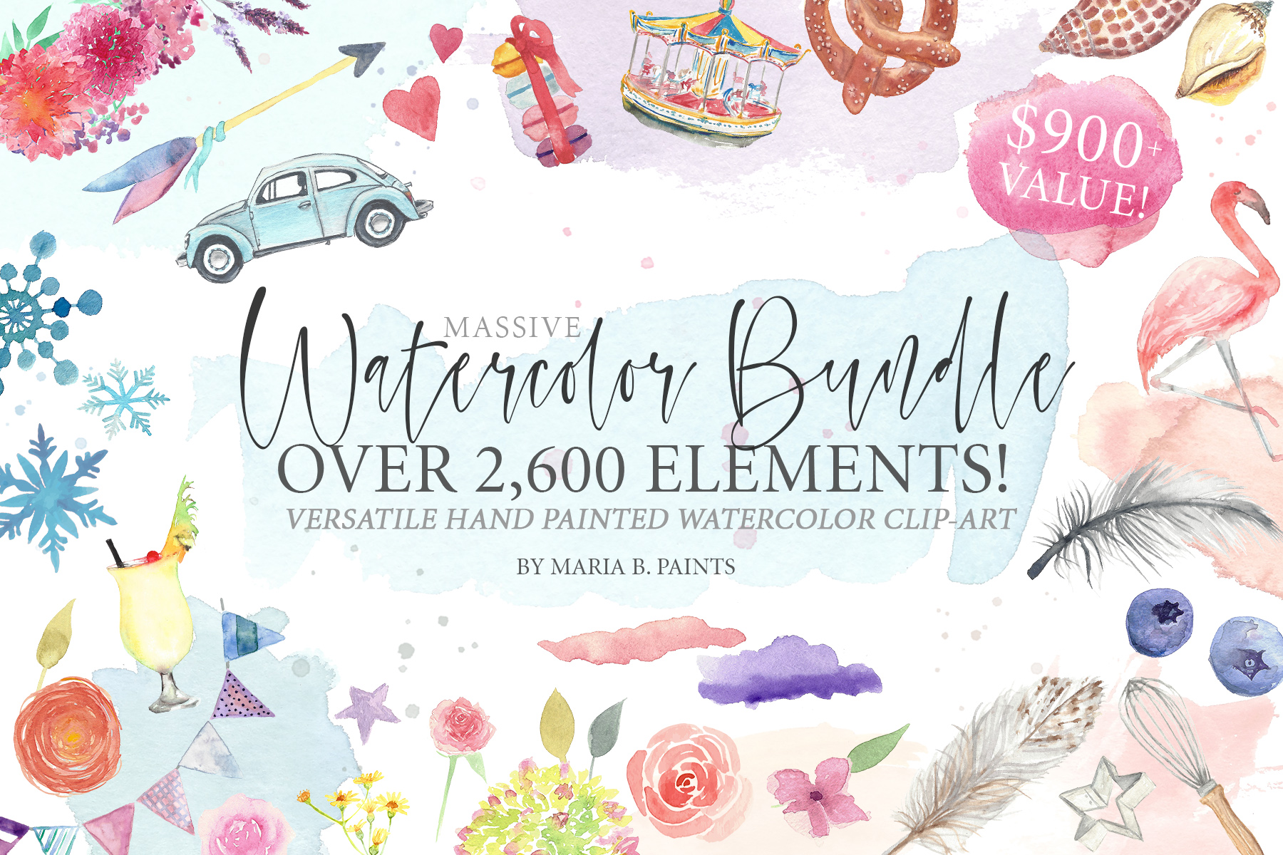 2,600 in 1 Watercolor Clip Art Bundle example image 1