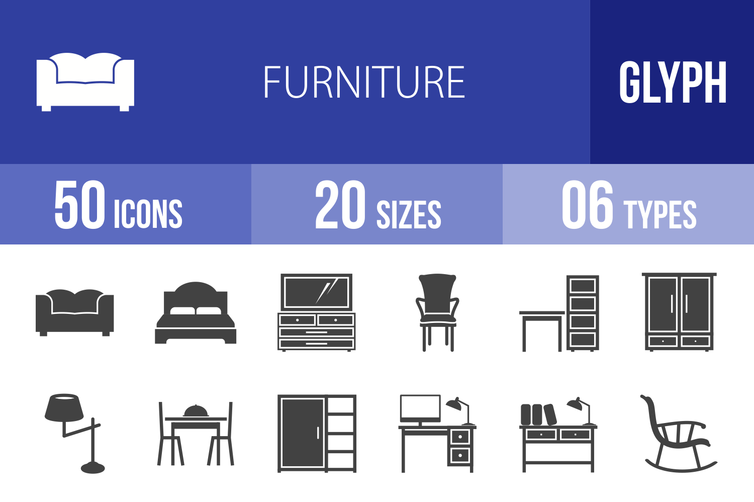 50 Furniture Glyph Icons example image 1