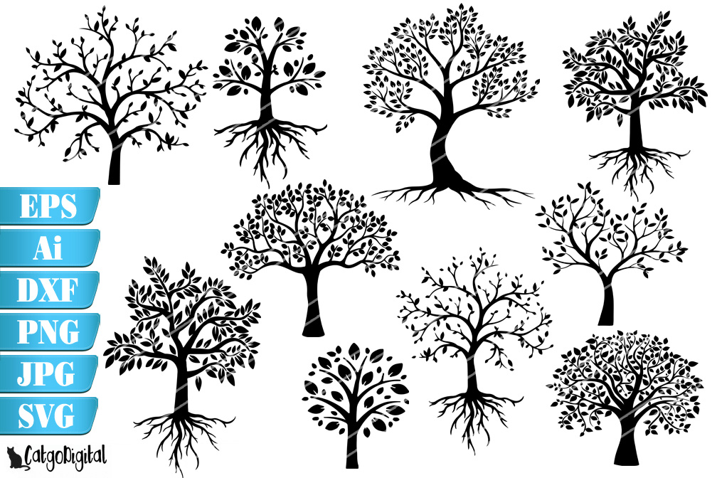 Tree Silhouettes SVG EPS Ai PNG DXF JPEG example image 1