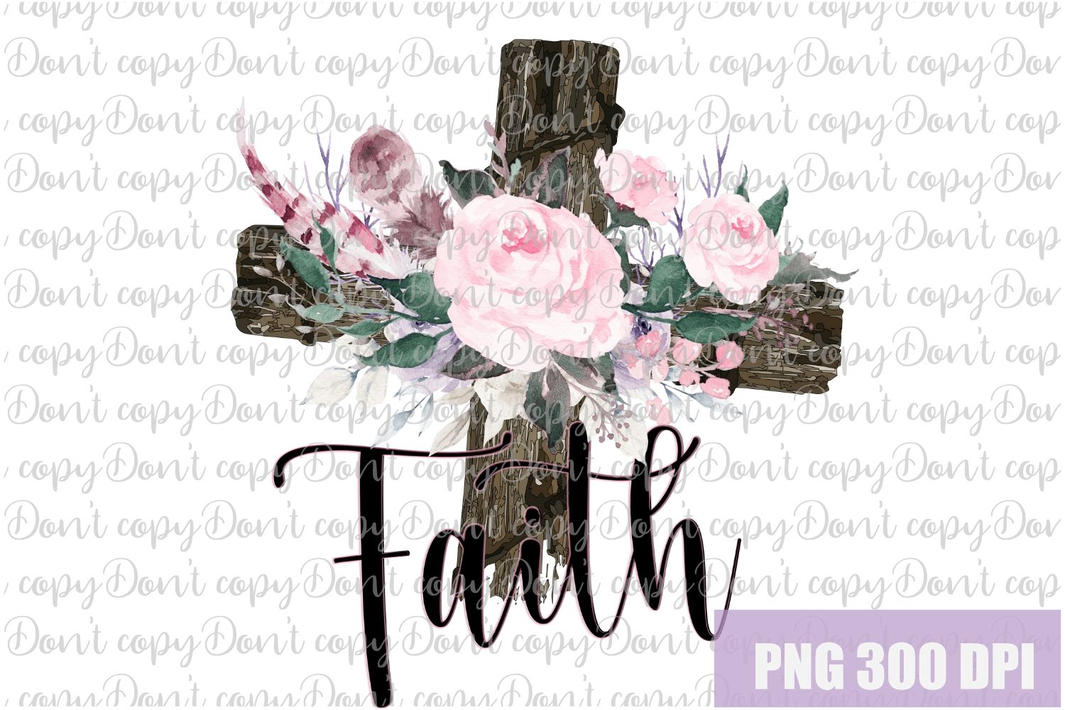Faith Easter woody Cross with Flowers Sublimation PNG Design example image 1