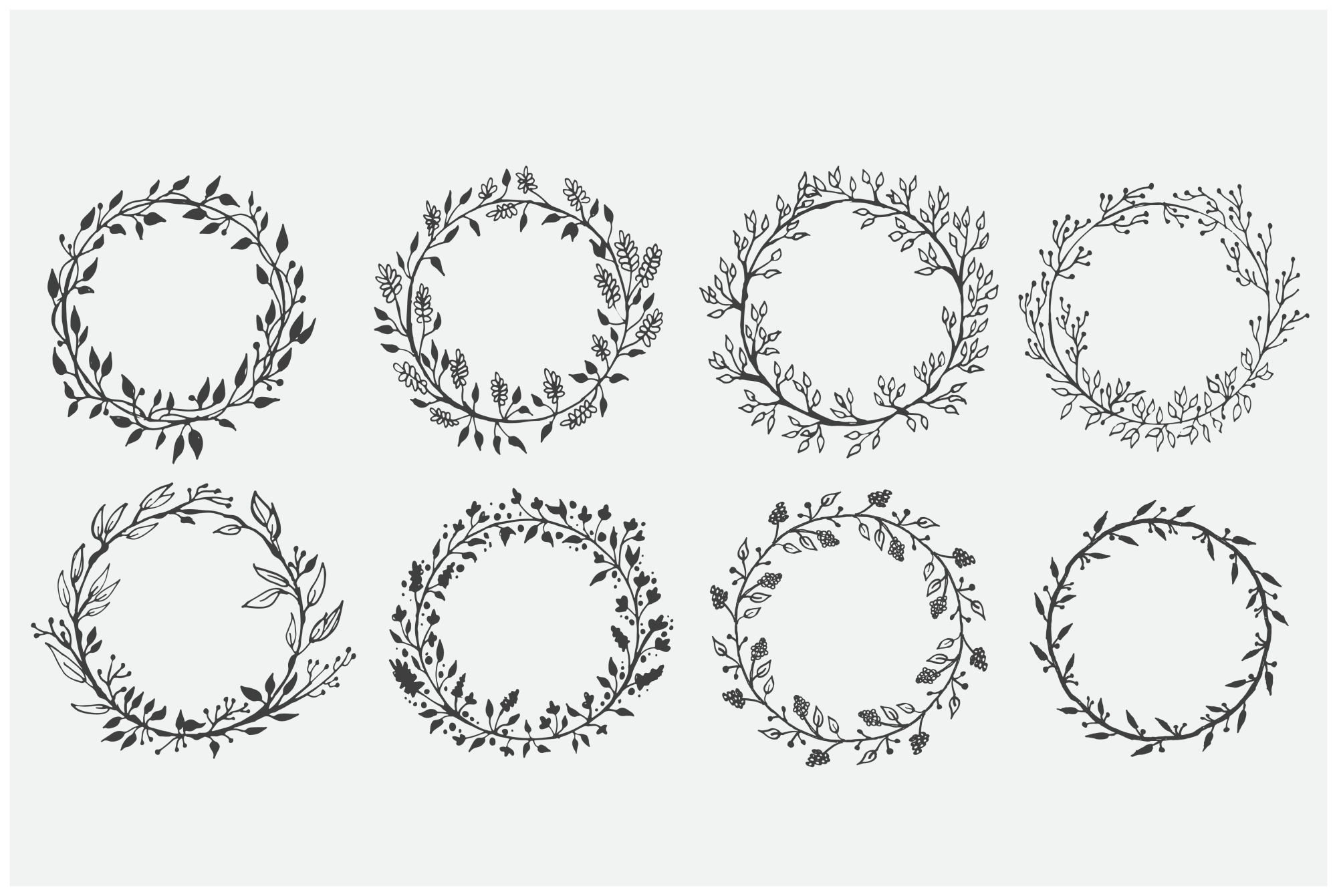 Hand Drawn Wreaths for Crafters Vol 1 example image 2