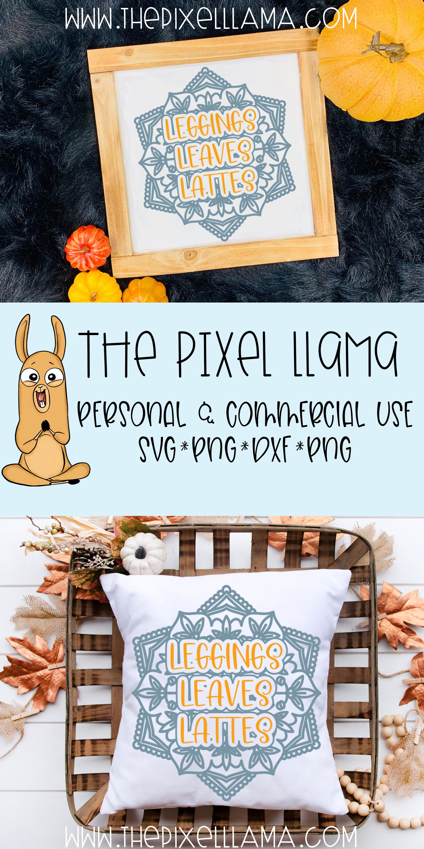 Leggings Leaves Lattes Fall Mandala SVG example image 3