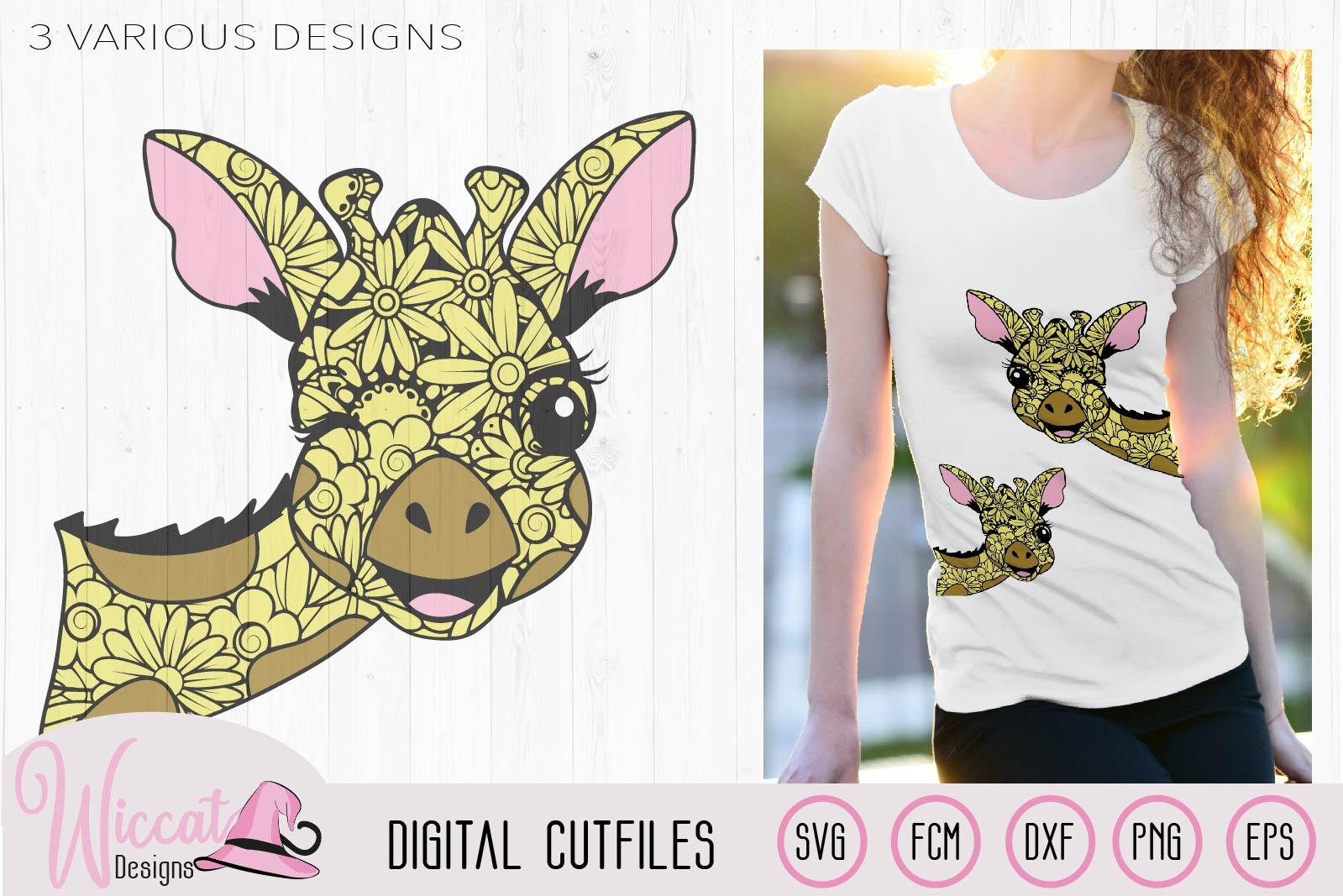 Winking Zentangle Giraffe, mandala animal svg, doodle Giraff example image 1