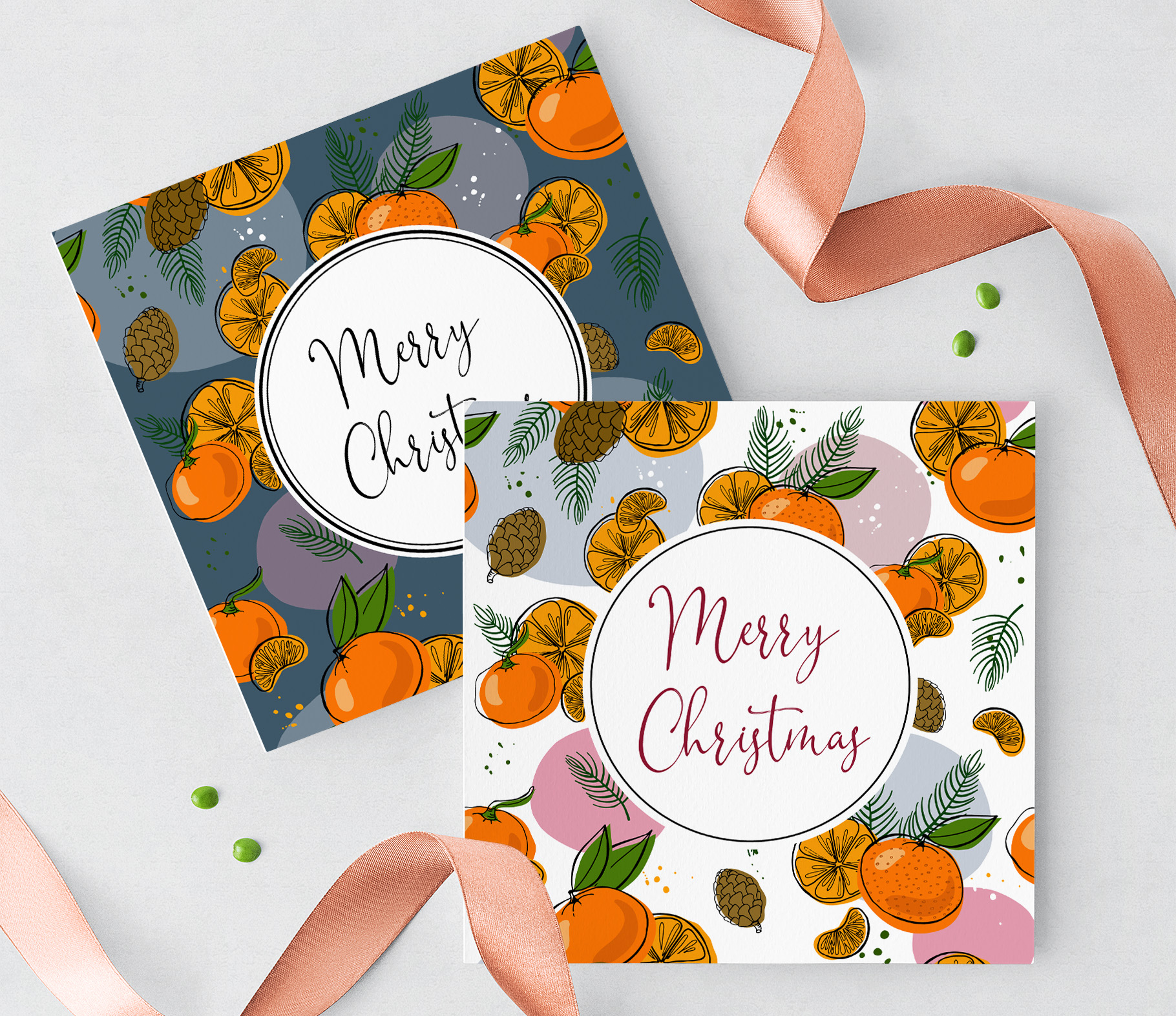 Tangerines Christmas Vector Clipart example image 8