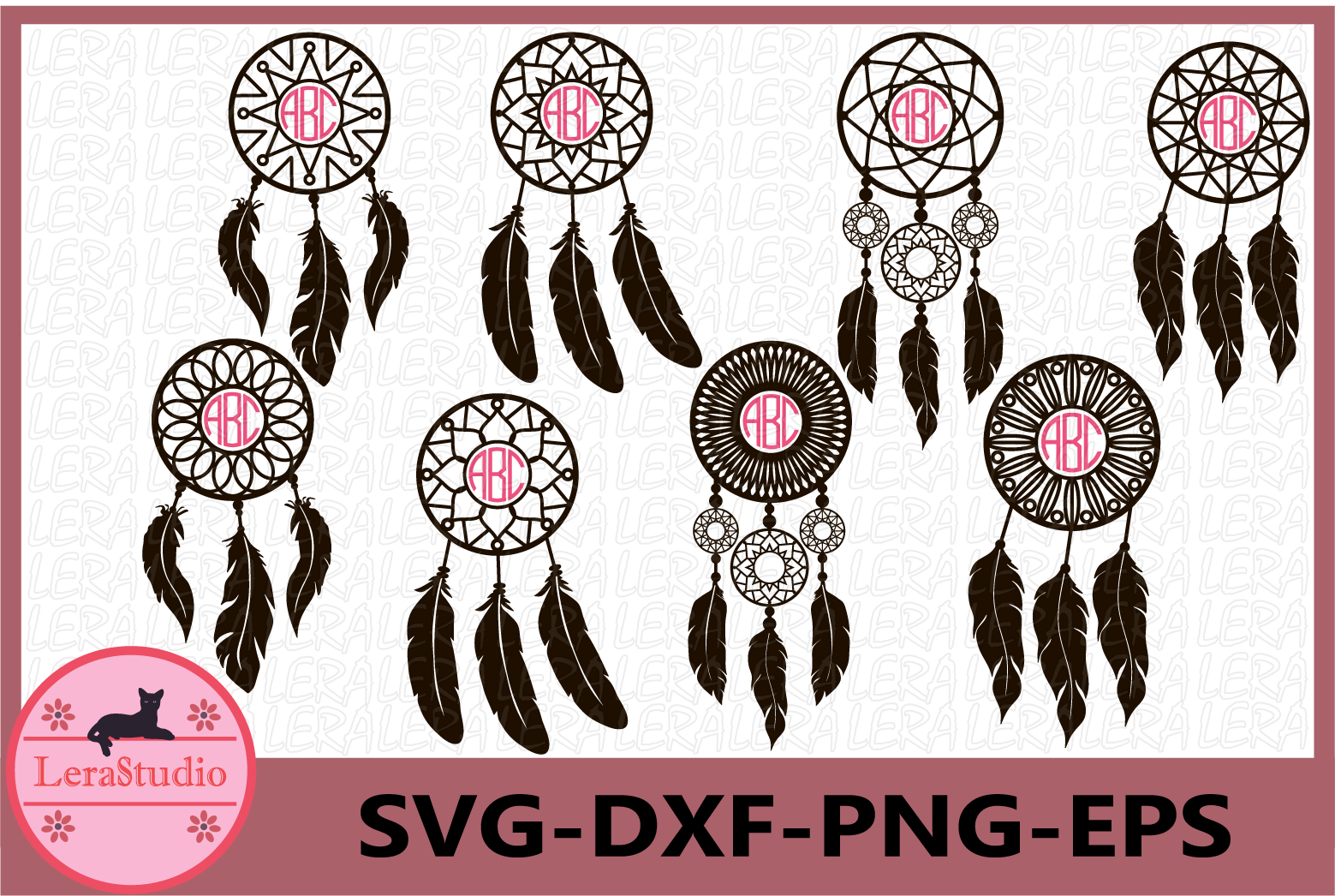 Dream Catcher Svg, Monogram, Feather svg, Monogram Frame svg example image 1