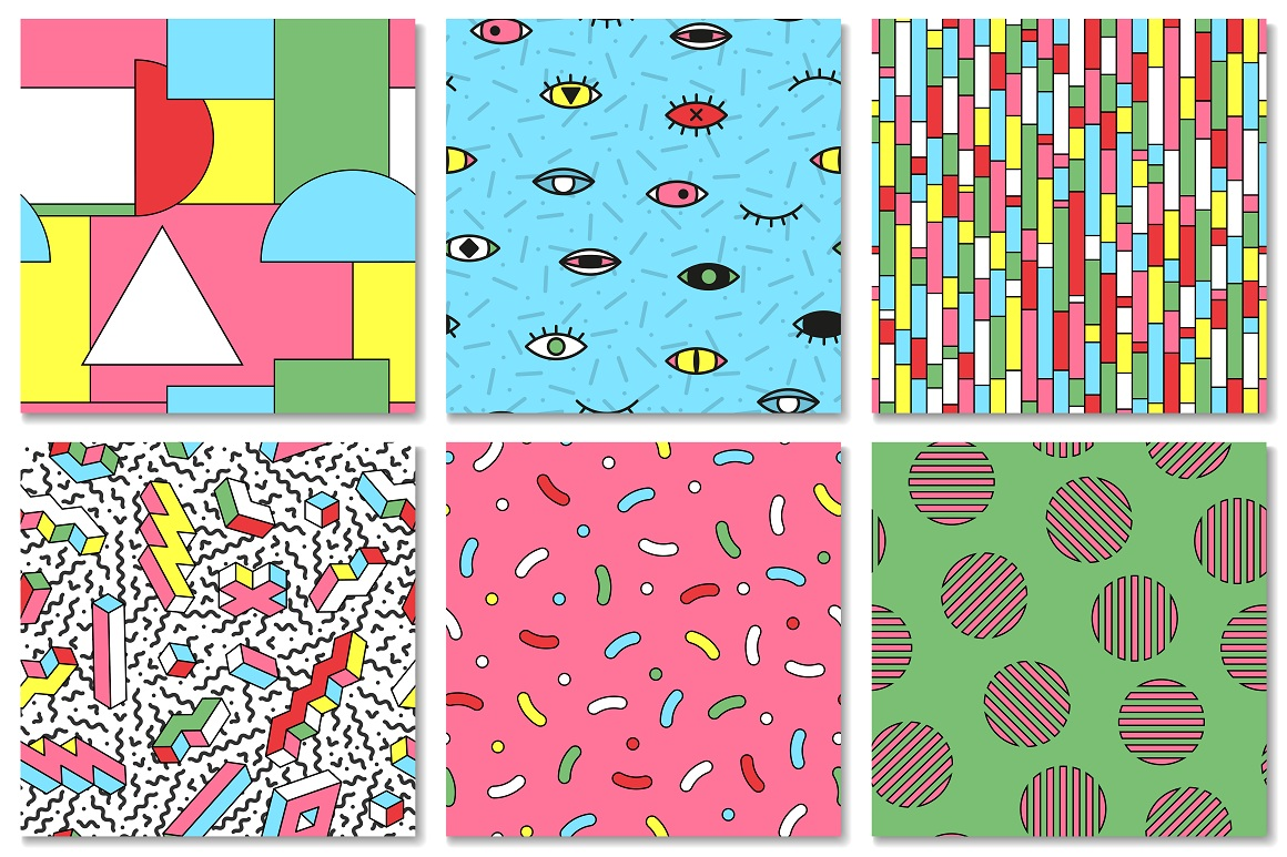 Bright seamless memphis patterns example image 5