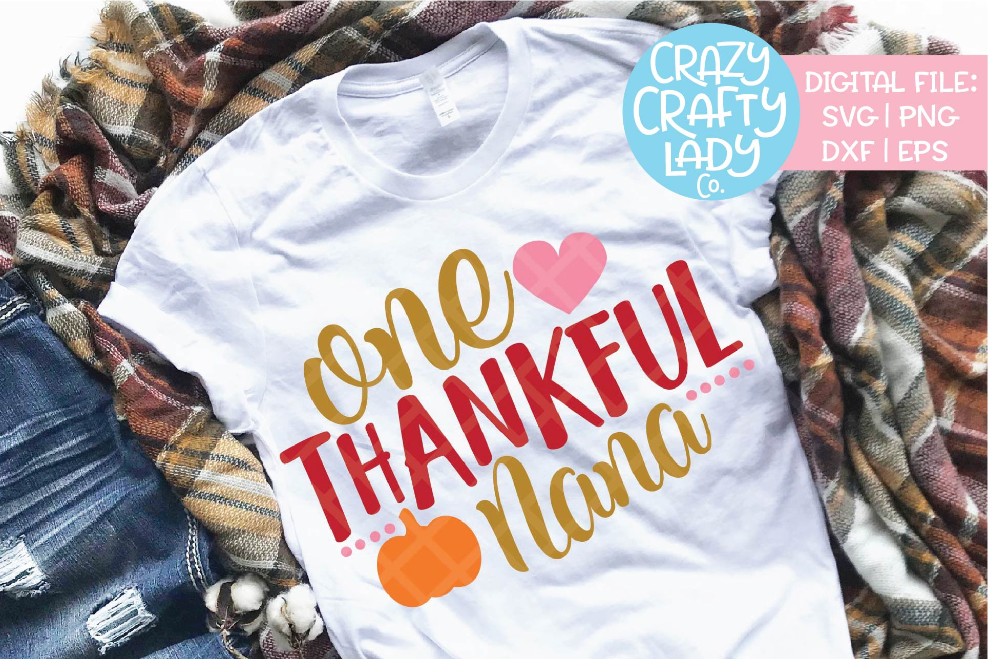 One Thankful Nana SVG DXF EPS PNG Cut File example image 1