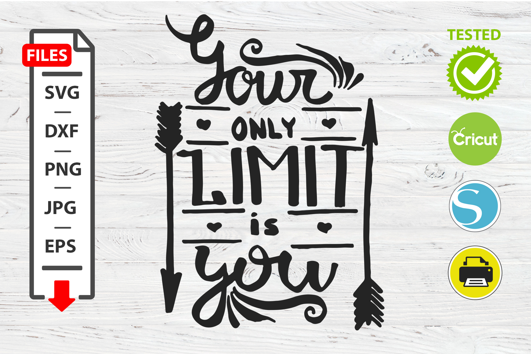 Your only limit is you motivational quote SVG Cricut Silhoue example image 1